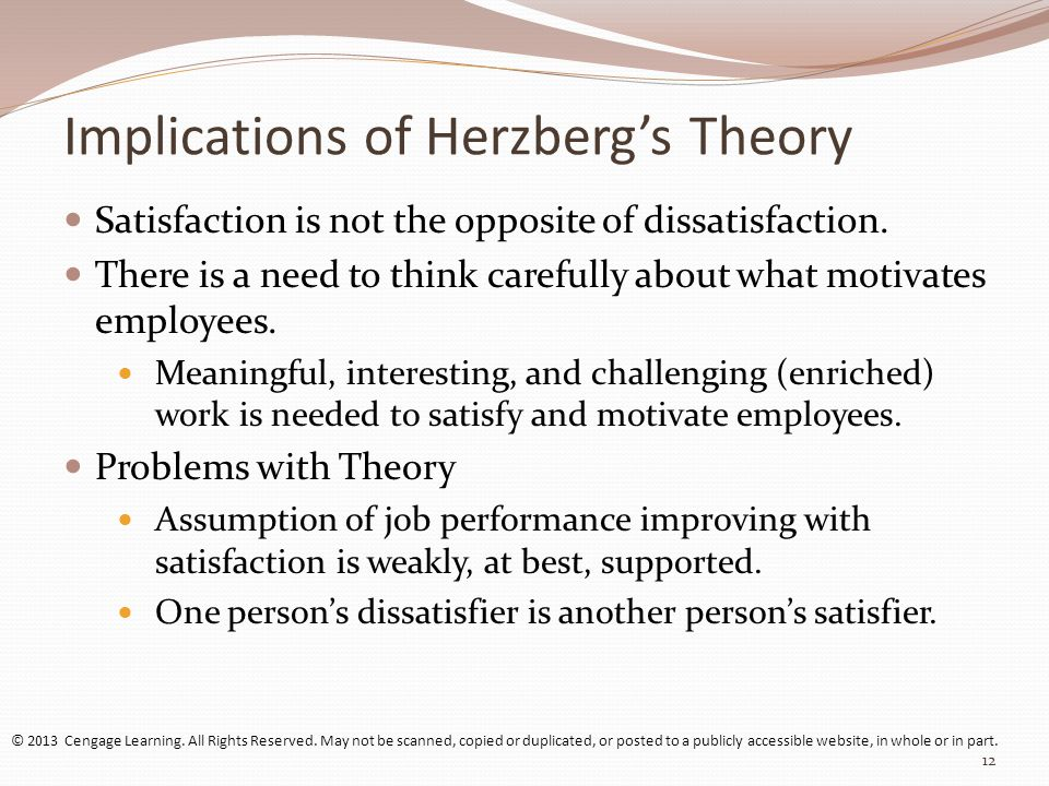 herzberg's 'good work' theory From a theoretical perspective, herzberg's motivation theory can be  interview  process consisted of asking the respondents to describe a work situation where  they  a great paper by heinz weihrich [2] shows the link between the two  factor.