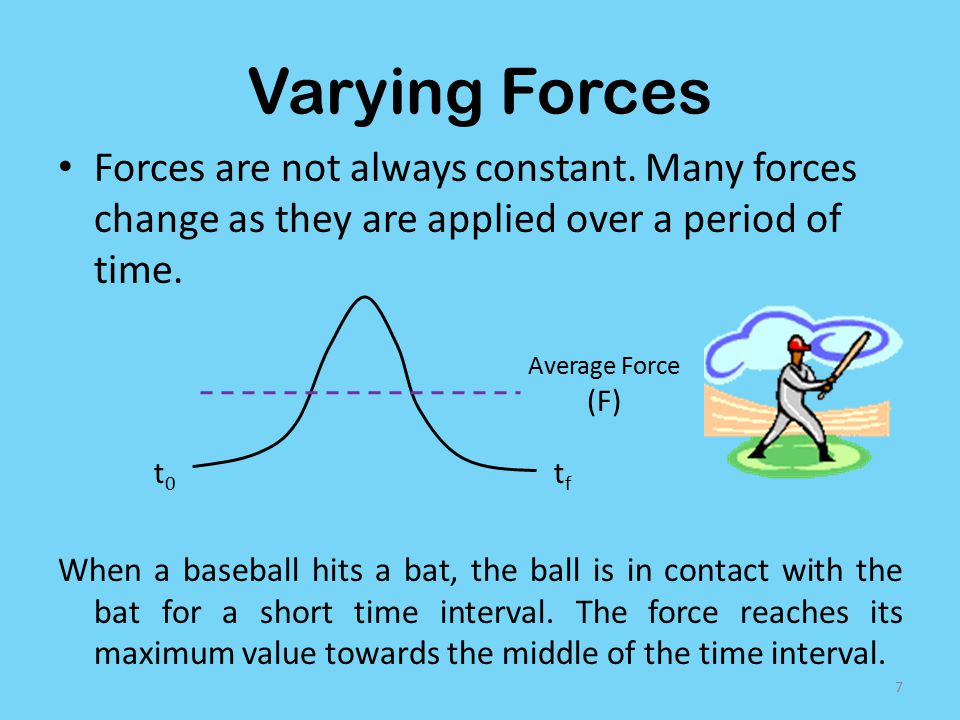 Varying Forces Forces are not always constant. Many forces change as they are applied over a period of time.