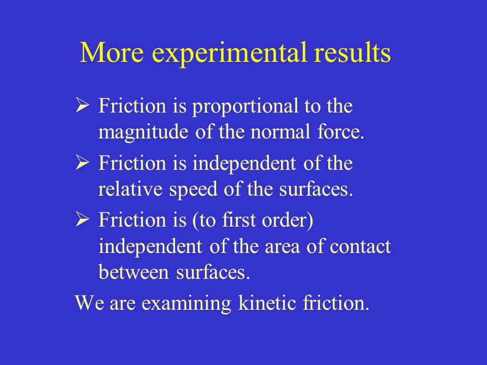 friction experiment design and results Experiment: static and kinetic friction  = µkn, where µk is the coefficient of kinetic friction in this experiment, you will use a force sensor to study static friction and kinetic.