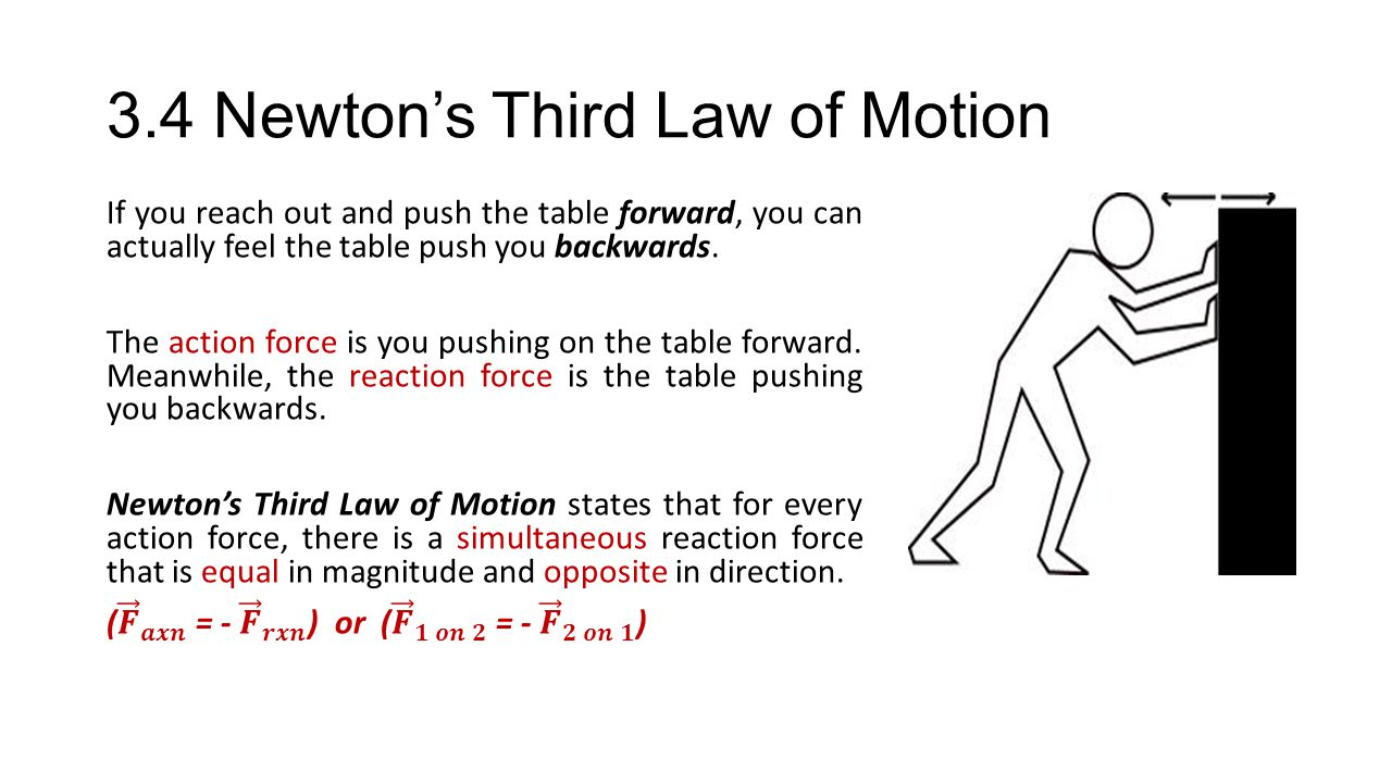 newton s third law of motion Newton's third law states that: to every action there is an equal, but opposite, reaction this means that, for instance, if the earth pulls on a comet due to gravity, the comet also pulls on the earth by combining this principle with the newton's second law of motion which discusses acceleration, it is possible to accurately.