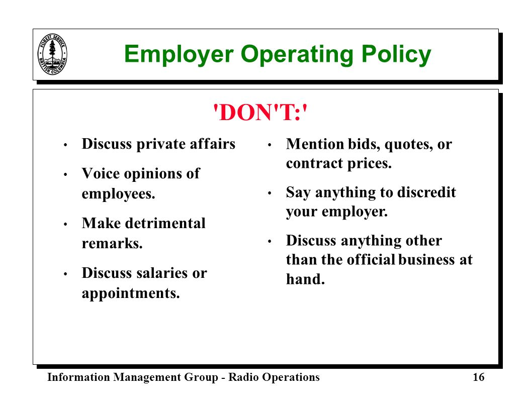 Employer Operating Policy