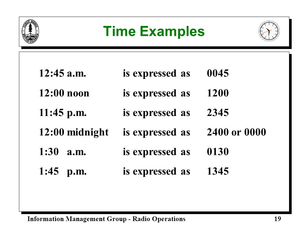 Time Examples 12:45 a.m. is expressed as 0045