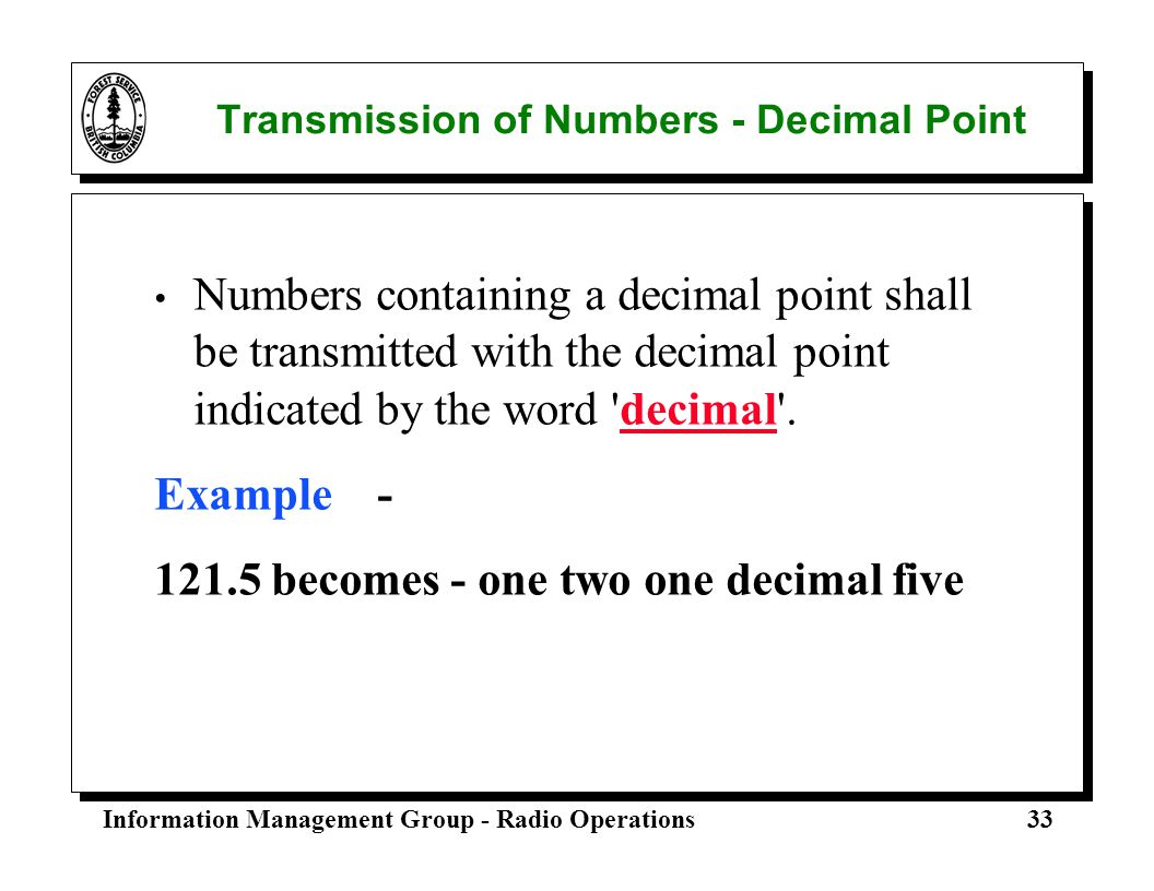 Transmission of Numbers - Decimal Point