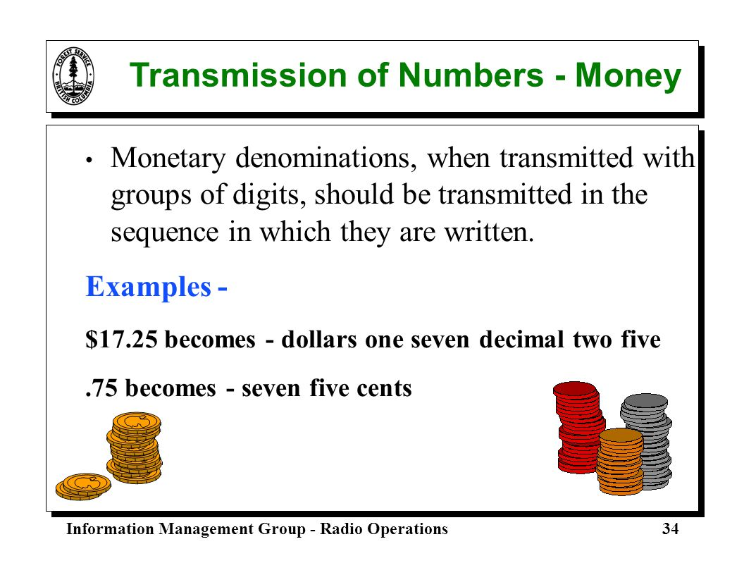 Transmission of Numbers - Money