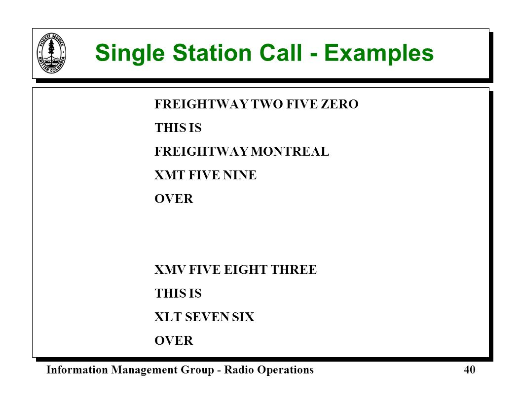 Single Station Call - Examples