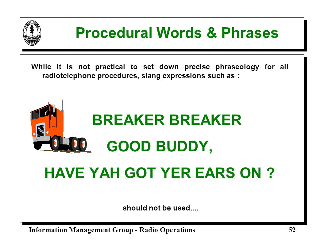 Procedural Words & Phrases
