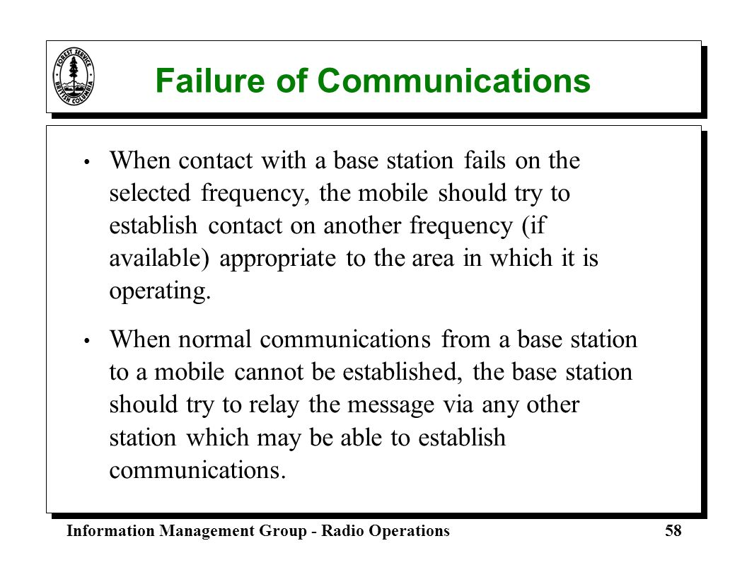 Failure of Communications