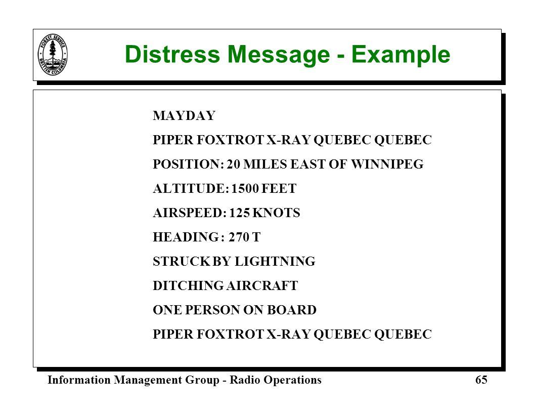 Distress Message - Example