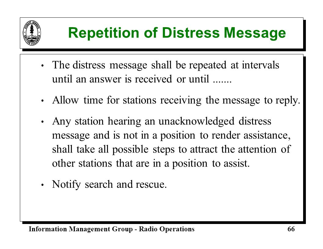 Repetition of Distress Message