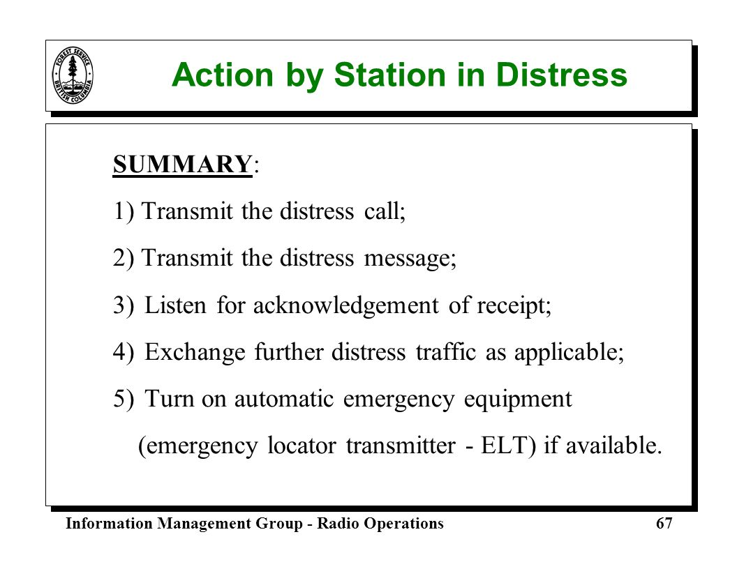 Action by Station in Distress