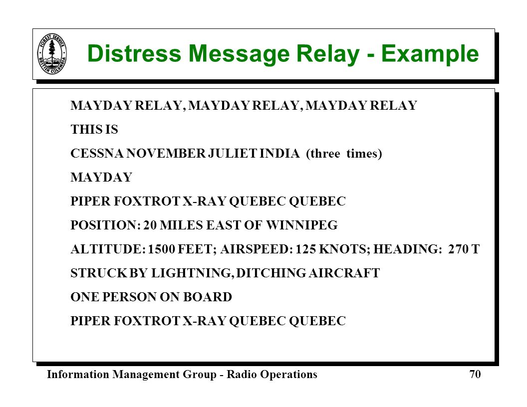 Distress Message Relay - Example