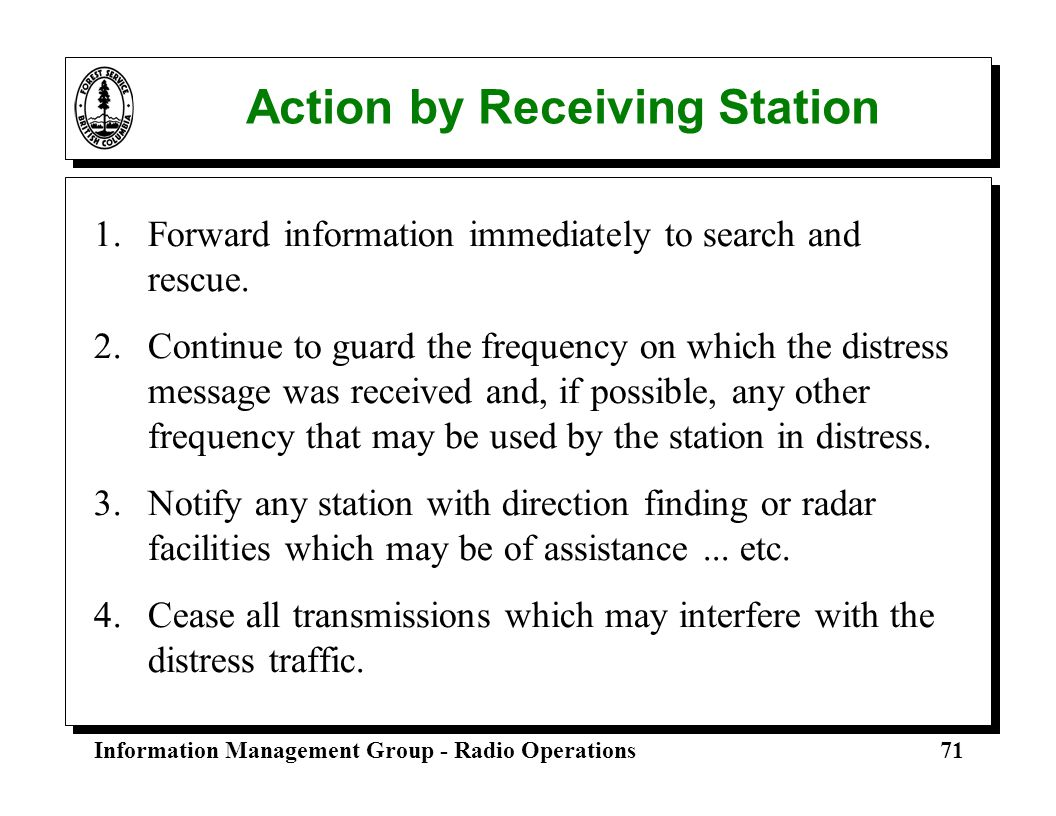 Action by Receiving Station