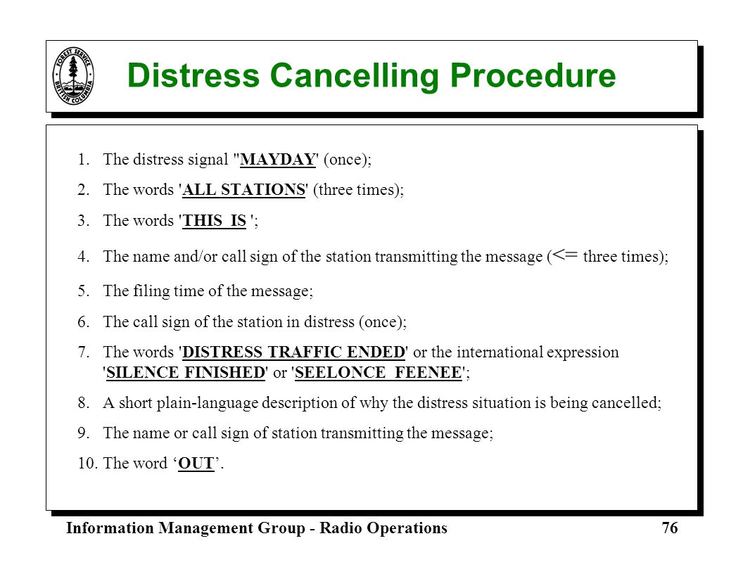 Distress Cancelling Procedure