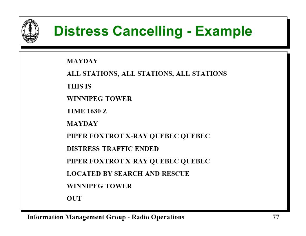 Distress Cancelling - Example