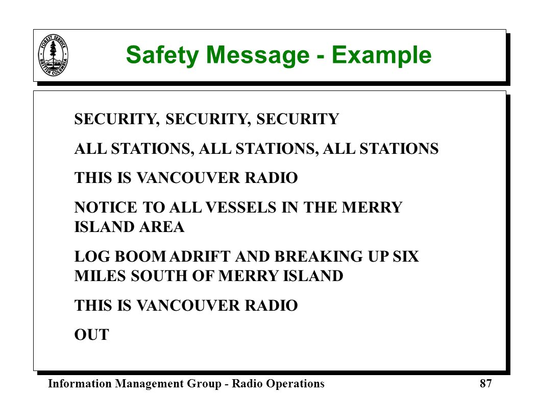 Safety Message - Example