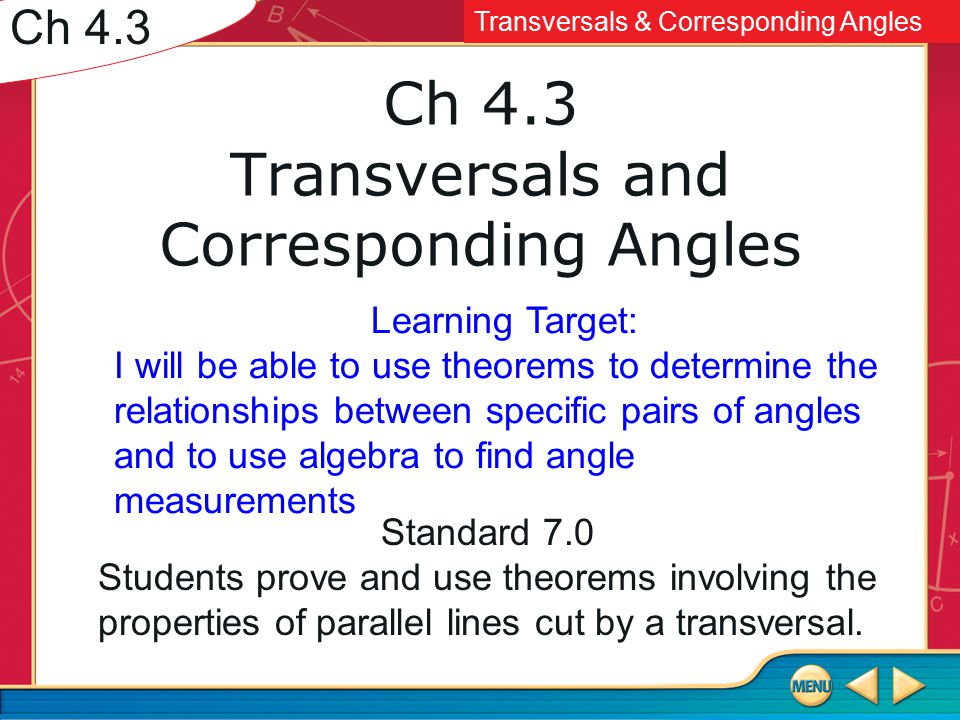 Ch 4 3 Transversals And Corresponding Angles Ppt Video Online Download