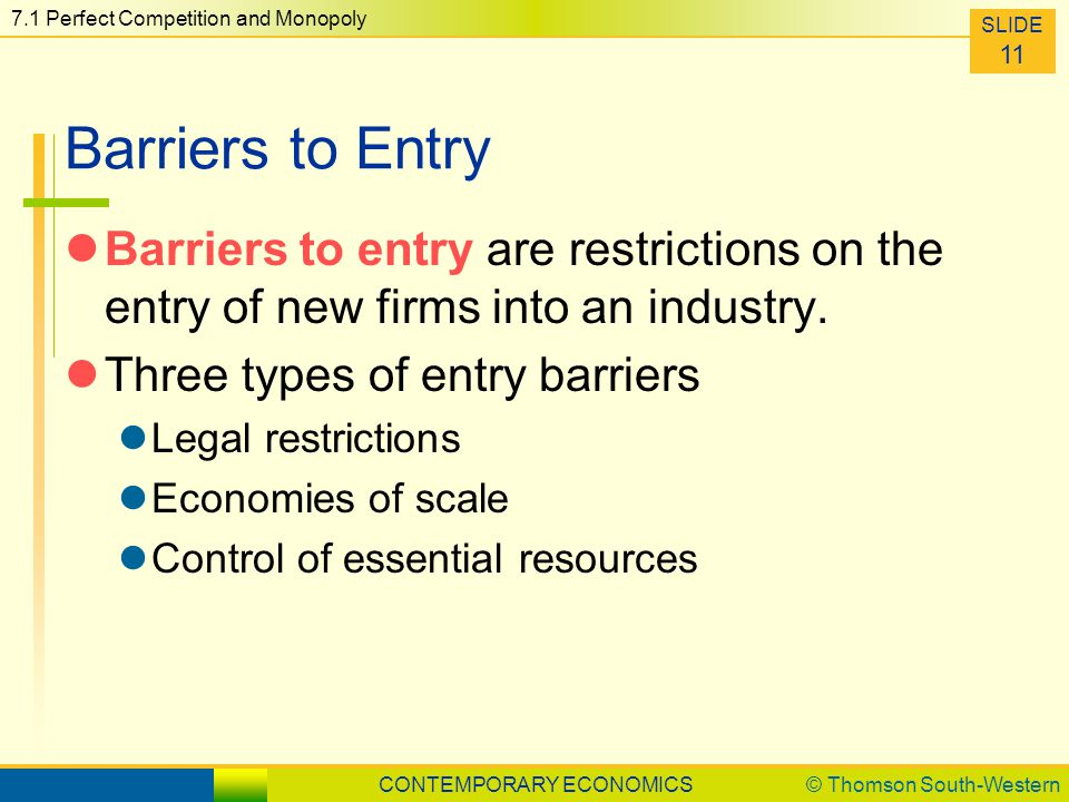 chocolate industry entry barriers Barriers to entry are, therefore, very important in determining the threat of new entrants an industry can have one or more barriers the following are common.