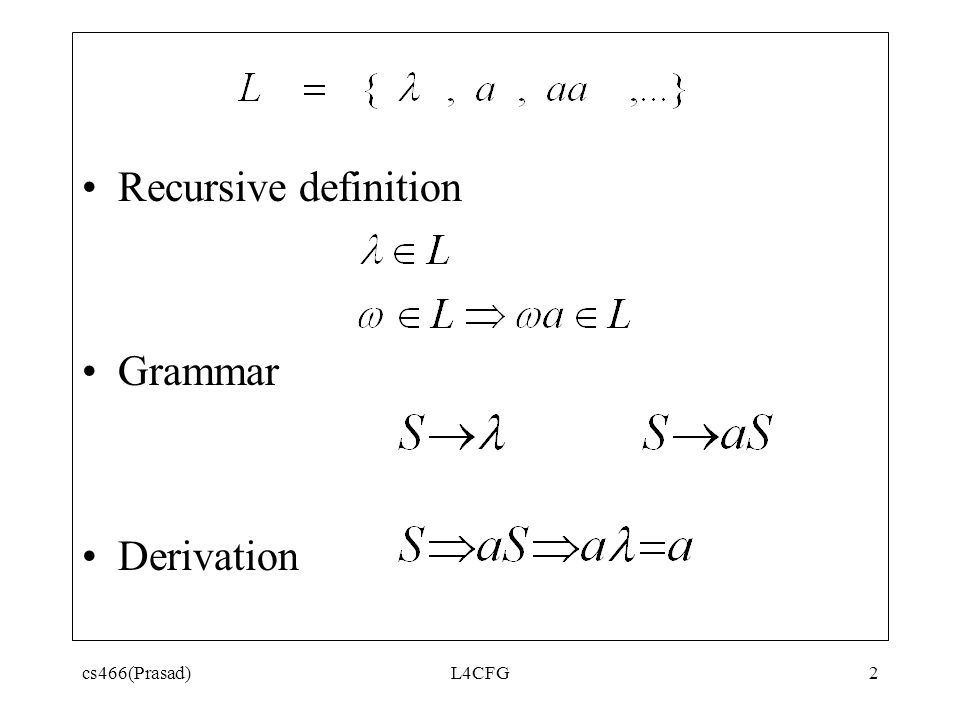 2 Recursive Definition Grammar Derivation Cs466(Prasad) L4CFG
