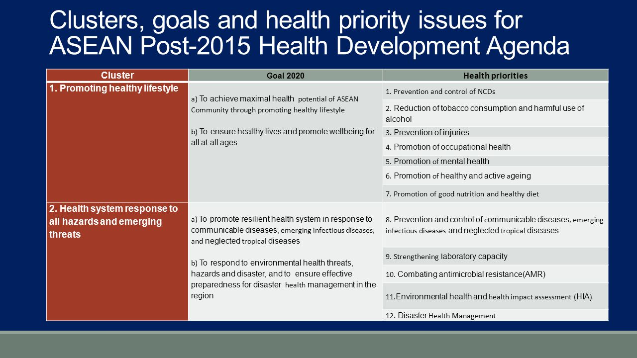 Clusters, goals and health priority issues for ASEAN Post-2015 Health Development Agenda
