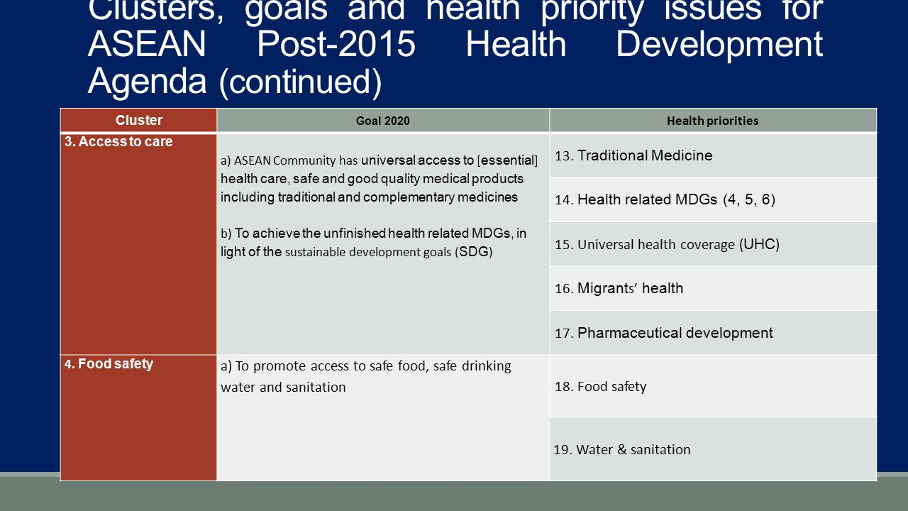Clusters, goals and health priority issues for ASEAN Post-2015 Health Development Agenda (continued)