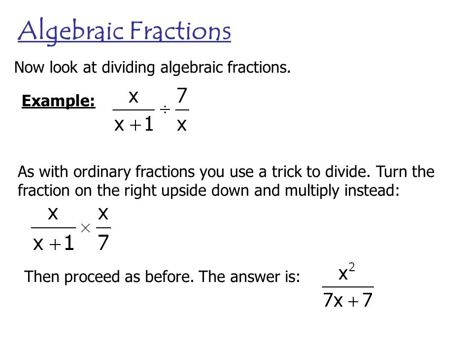 how to turn fraction to algebraic expressions
