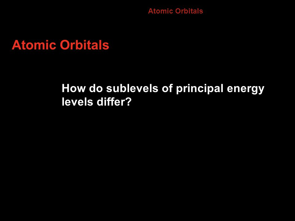 Atomic Orbitals How do sublevels of principal energy levels differ