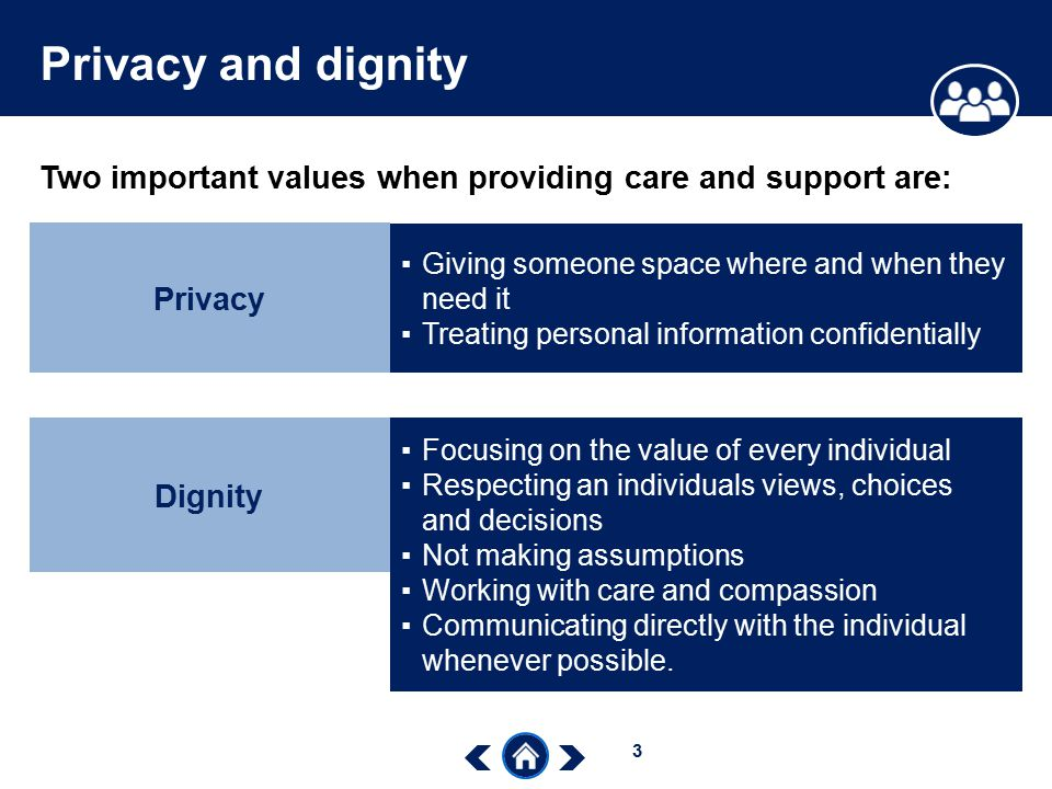the importance of dignity when providing health care Nursingworld | code of ethics also provide services to those seeking health as well as those 12 relationships to patients - the need for health care is.