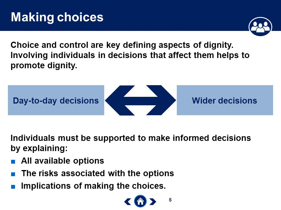 defining informed choice and its examples Informed consent is the process by which the treating health care provider discloses appropriate information to a competent patient so that the patient may make a voluntary choice to accept or refuse treatment (appelbaum, 2007)1 it originates from the legal and ethical right the patient has to.