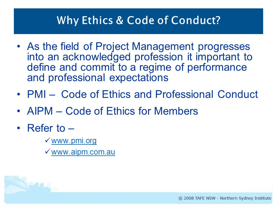 Summary of Pmi Code of Ethics and Professional Conduct
