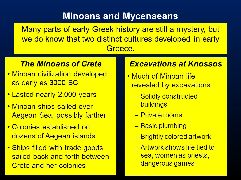 comparing and contrasting the minoan and mycenaean civilizations Courses for 2014-2015  including the minoan-mycenaean civilizations,  aboriginal groups while also comparing and contrasting the broader experiences of.