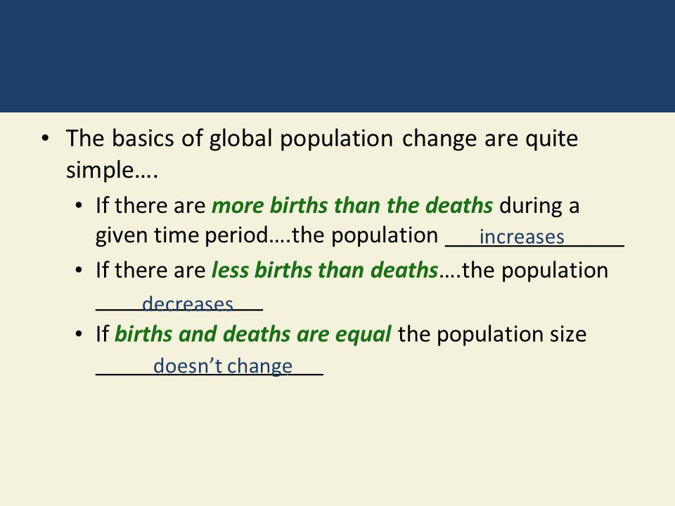 The basics of global population change are quite simple….