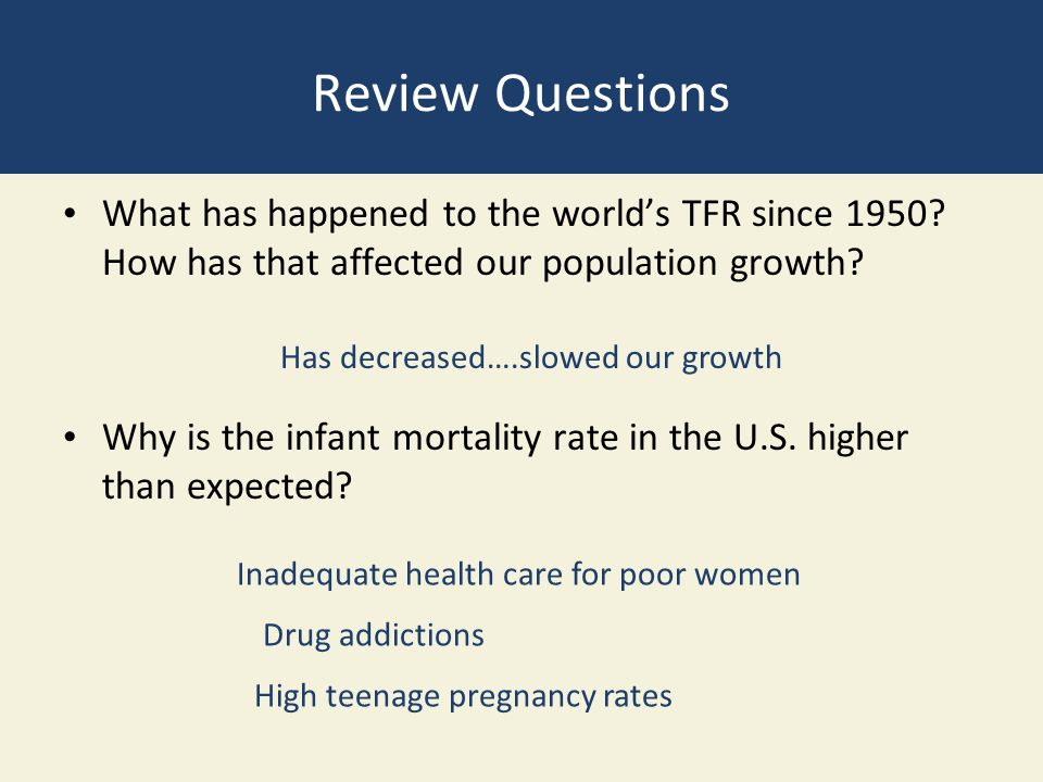 Review Questions What has happened to the world's TFR since 1950 How has that affected our population growth