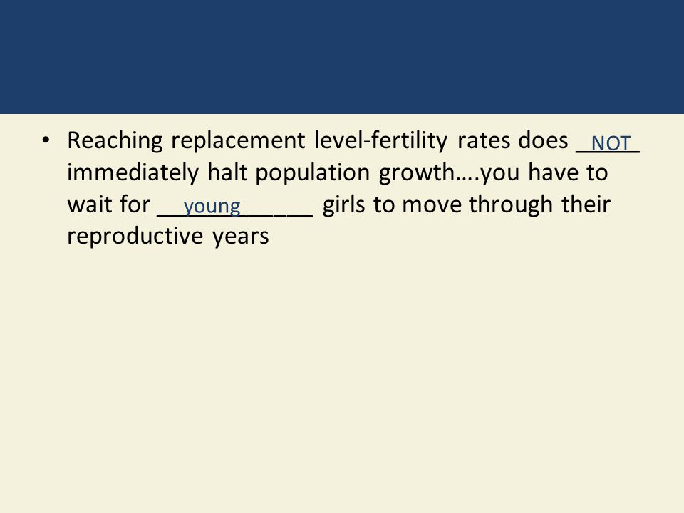 Reaching replacement level-fertility rates does _____ immediately halt population growth….you have to wait for ____________ girls to move through their reproductive years