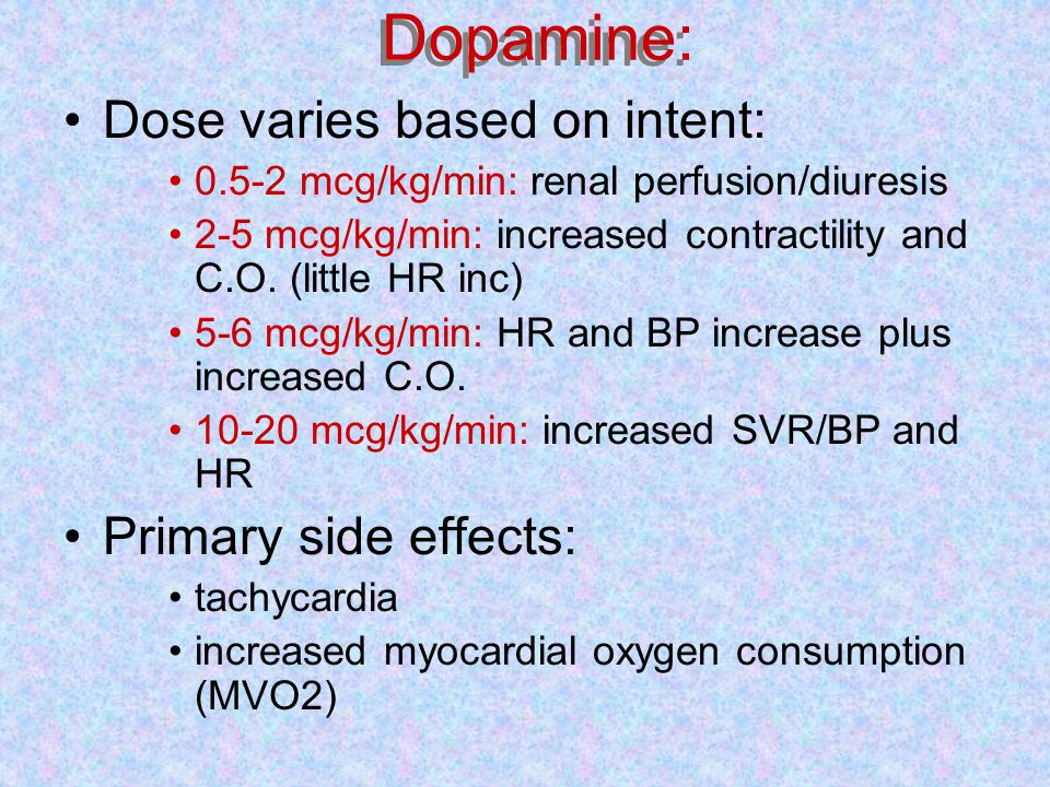 Dopamine for pediatrics