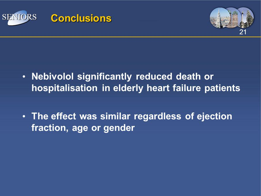 Conclusions Nebivolol significantly reduced death or