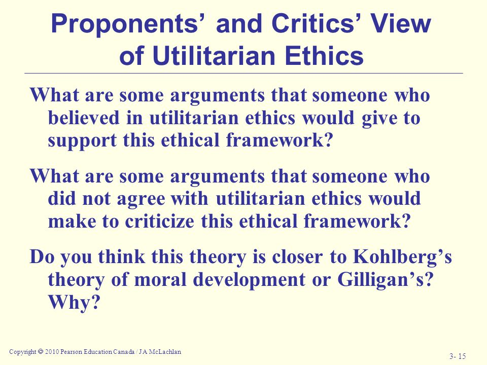 Proponents' and Critics' View of Utilitarian Ethics