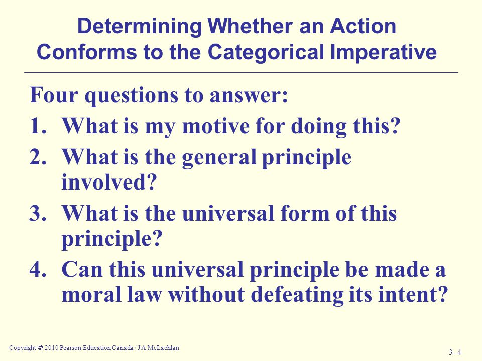 Determining Whether an Action Conforms to the Categorical Imperative