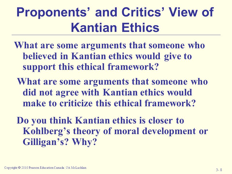Proponents' and Critics' View of Kantian Ethics