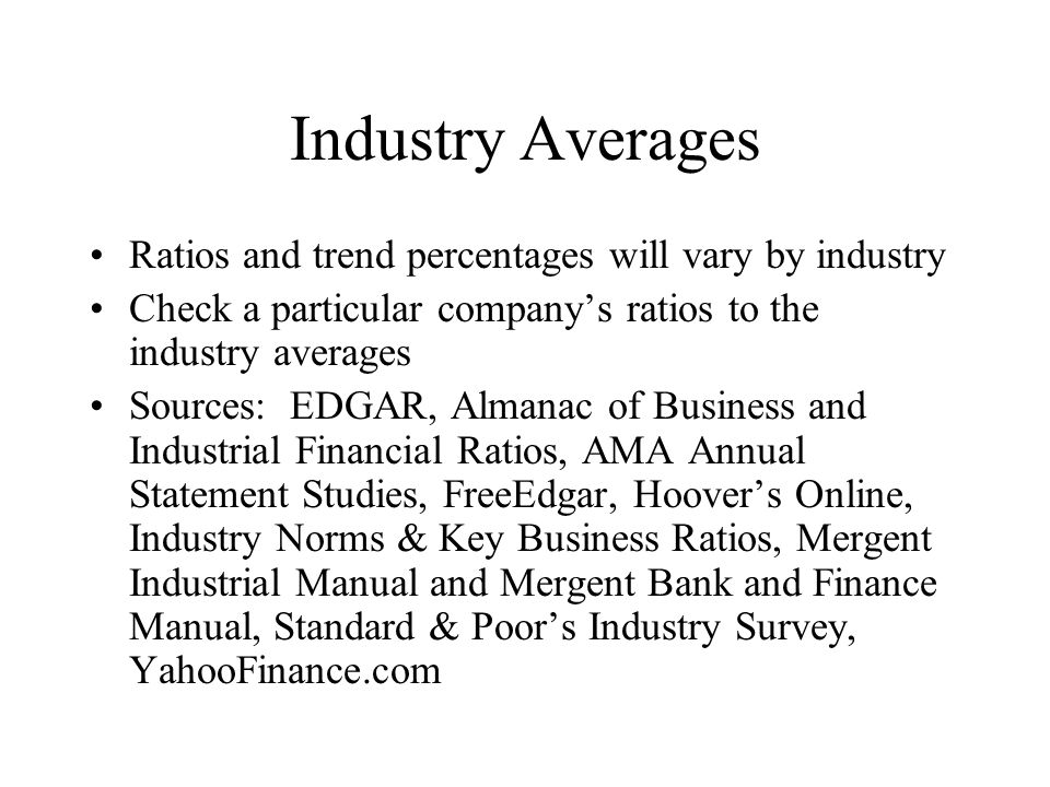 the industry averages and financial ratios essay Learn about key financial ratios used to analyze the industry key financial ratios to analyze the hospitality and compare it to industry averages to ensure.