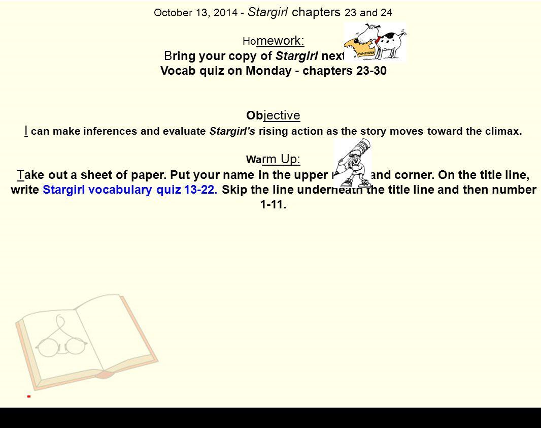Vocab quiz on Monday - chapters 23-30
