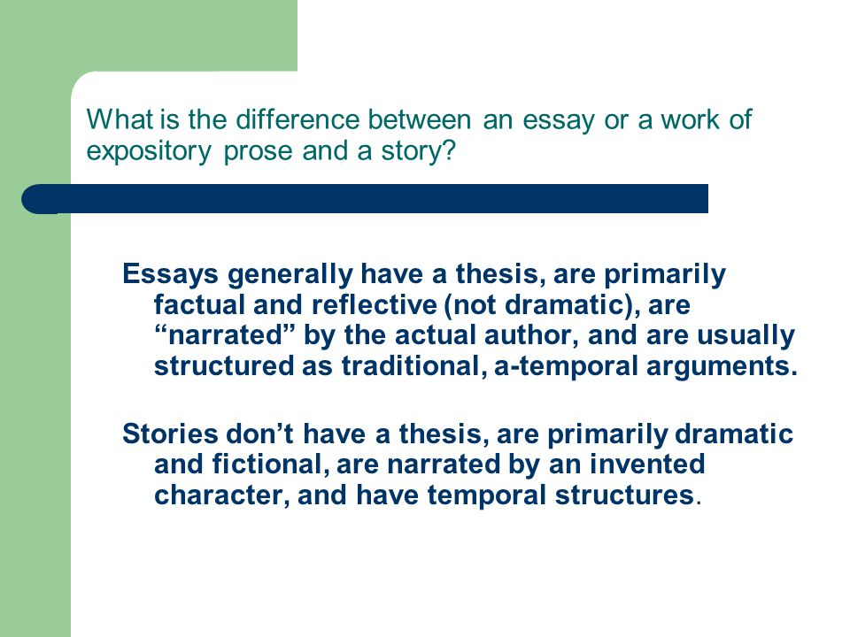 difference between narrative and expository essay Expository vs persuasive lesson goals identify what types of writing are expository or narrative learn the difference between expository and persuasive writing what is a narrative.