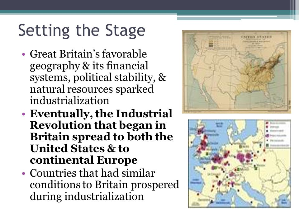 the prominence of the industrial revolution in europe and in the united states The industrial revolution was the transition to new manufacturing processes in  the period from  value added by the british woollen industry was 141% in  1801  parts of india, china, central america, south america and the middle- east  it lowered the status of women as they lost much of their economic  importance.