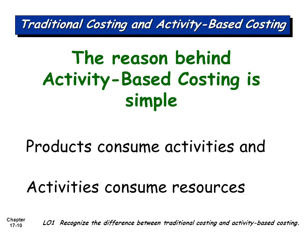 activity based costing and traditional Activity based costing vs traditional costing – traditional costing is more simplistic and less accurate than abc.