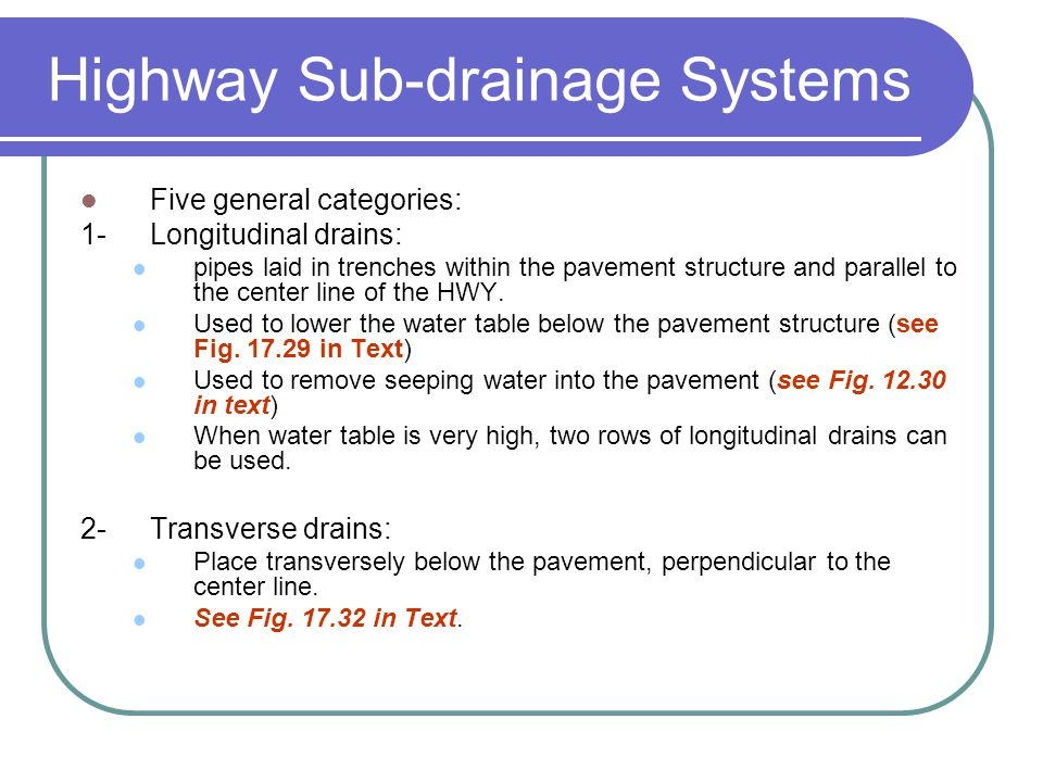Highway draingae dr taleb m al rousan source ppt for Below ground drainage systems explained