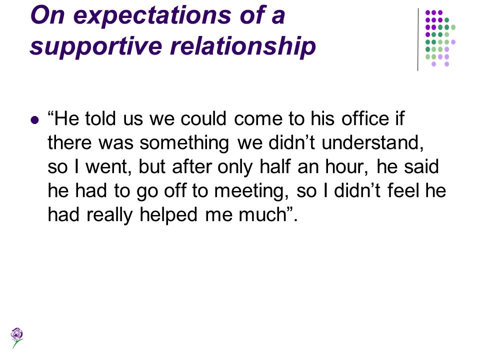 On expectations of a supportive relationship