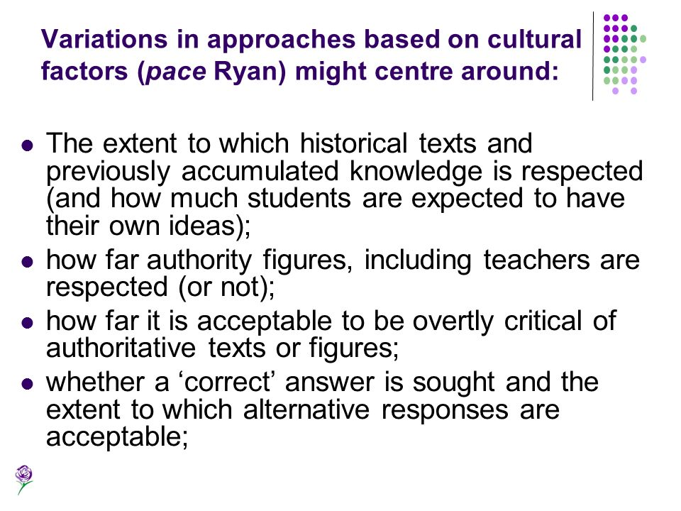 how far authority figures, including teachers are respected (or not);