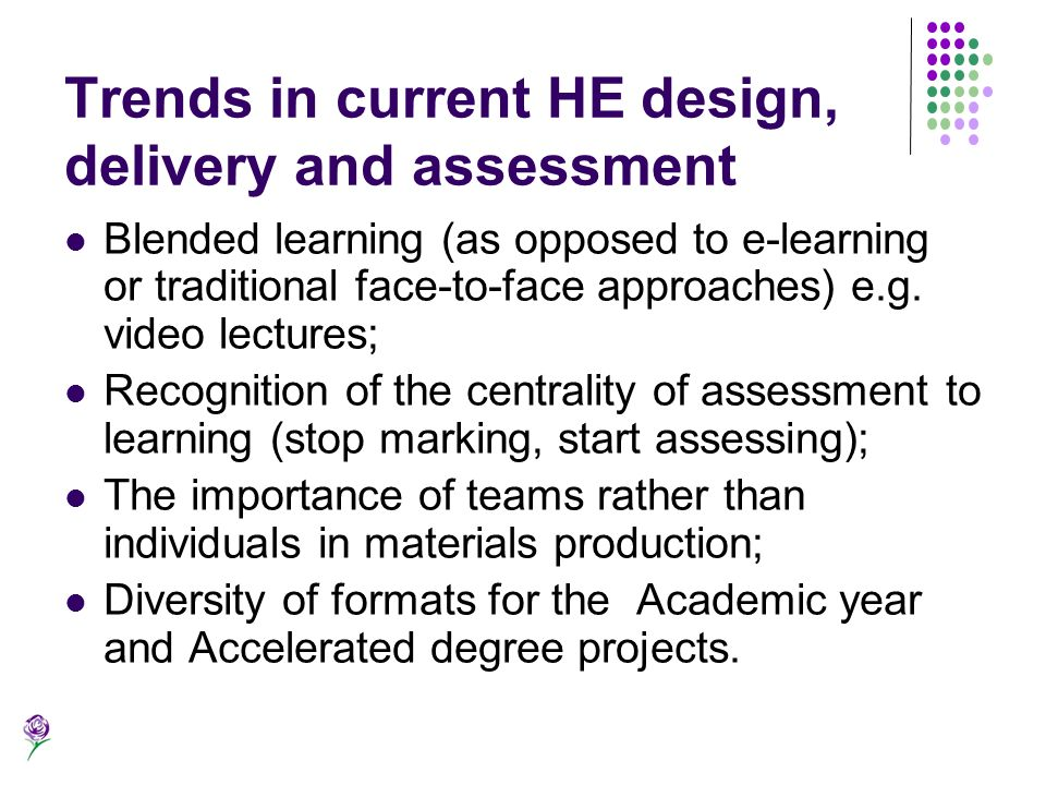 Trends in current HE design, delivery and assessment