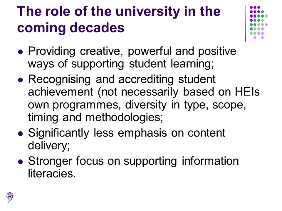 The role of the university in the coming decades