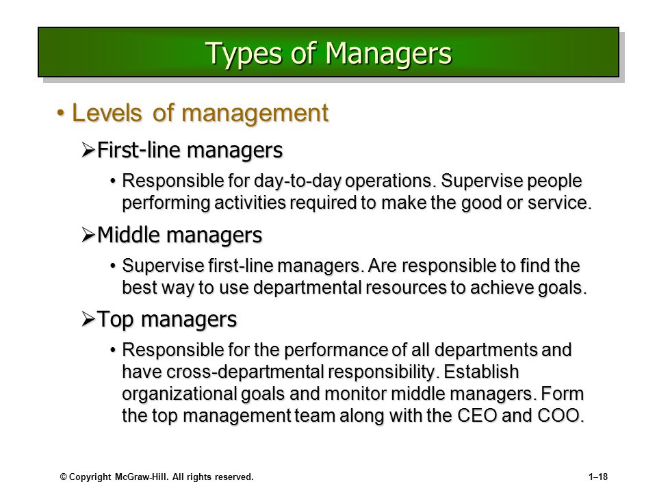 Types of Managers Levels of management First-line managers