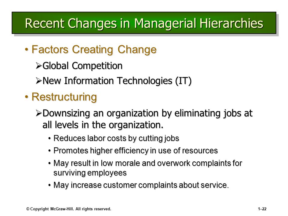 Recent Changes in Managerial Hierarchies